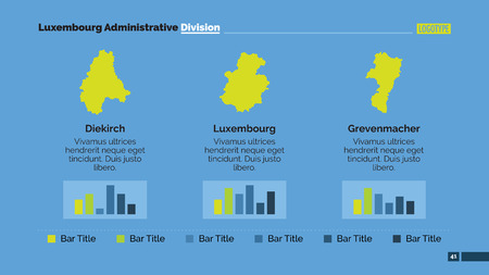 districts: Editable presentation slide template showing three Luxembourg districts with bar charts Illustration