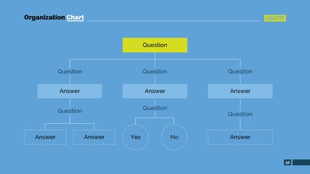 diagrama de arbol: Modelo de la presentación de diapositivas de diagrama de árbol vertical con preguntas y respuestas cajas, fondo azul