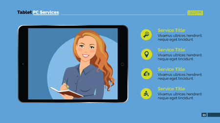 presentation screen: Presentation template slide representing tablet pc with smiling female person with pen and notebook on screen, sample text, blue background