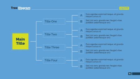 Editable template of  presentation slide representing two level horizontal tree diagram