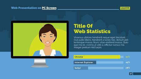 blue smiling: Web presentation slide template representing smiling female person on pc screen, sample text, bar diagram, blue background Illustration