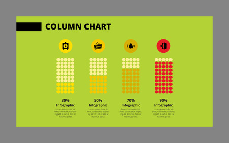 Editable vector template of column chart on green background