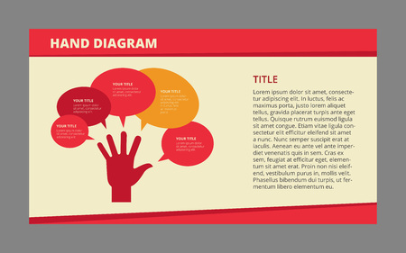 criterion: Vector flat editable template of hand diagram with five small fields and large area for description