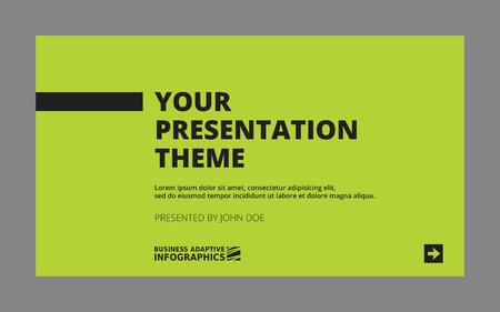 colorful slide: Template of presentation title slide, black letters on green background Illustration