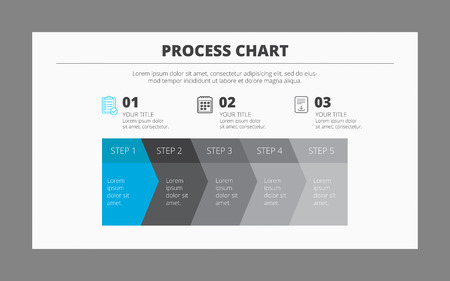 Editable vector template of horizontal five-step process chart in blue and grey colors Vectores