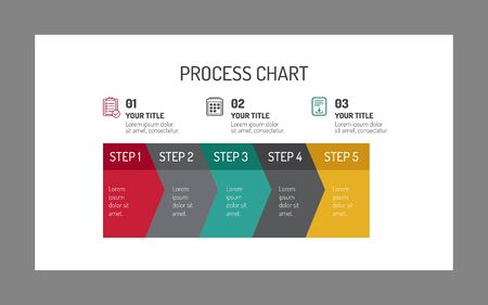 business analysis: Editable vector multicolored template of horizontal five-step process chart on white background Illustration