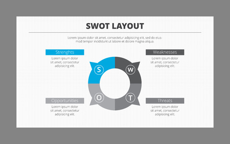 swot: Editable vector SWOT analysis template with space for data presentation