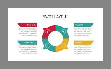 swot analysis: Editable vector multicolored SWOT analysis template with sample text on white background