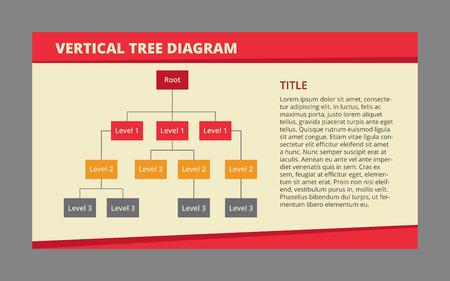 diagrama de arbol: vectorial editable plantilla de infograf�a del diagrama de �rbol de tres niveles con el campo Descripci�n