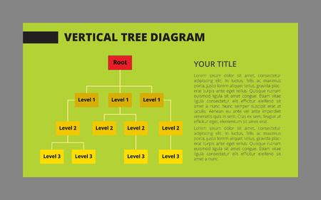 diagrama de arbol: vectorial editable plantilla de infograf�a del diagrama de �rbol de tres niveles con texto de ejemplo en el fondo verde Vectores