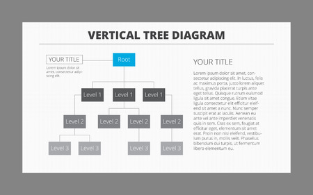 subordinate: Editable vector infographic template of three-level tree diagram with sample text, grey and blue version Illustration
