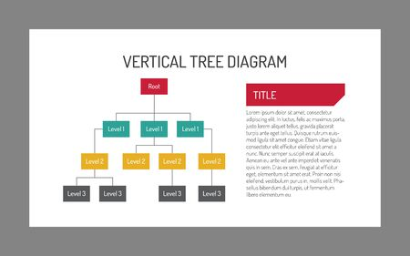 tree diagram: Editable vector multicolored infographic template of vertical three-level tree diagram with description field on white background Vectores