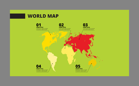 sample: Editable template of world map with sample text