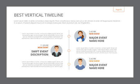 Template of presentation slide representing best vertical timeline with female and male character portraits, multicolored Illustration