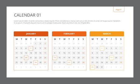 january 1st: Editable template of calendar including four months with marked dates, multicolored version Illustration