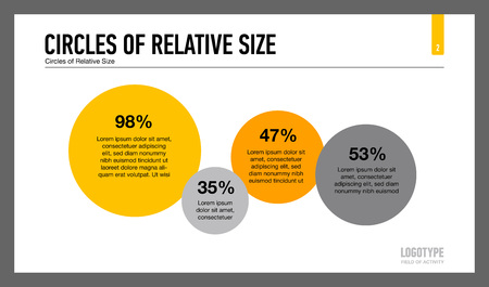 relative: Editable infographic template of presentation slide representing four circles of relative size, orange and grey version Illustration