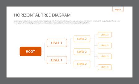 diagrama de arbol: plantilla editable de la presentaci�n de diapositivas que representa el diagrama de �rbol horizontal con niveles de ra�ces y tres