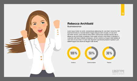 rates: Editable template of presentation slide representing businesswoman portrait, sample text and pie charts displaying personal rates