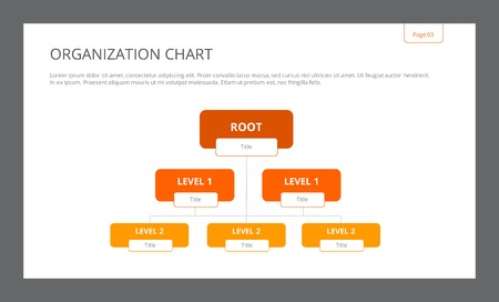 organization: Template of presentation slide representing organization chart with root and two levels, editable, multicolored version Illustration