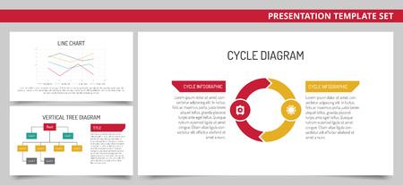 diagrama de arbol: Conjunto de plantillas de presentación del vector de infografía: Gráfico de líneas, diagrama de árbol vertical, diagrama del ciclo en los colores rojo, verde, amarillo y gris sobre fondo blanco