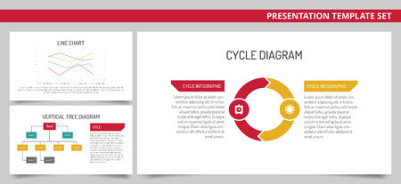 subordinate: Set of vector infographic presentation templates: Line chart, Vertical tree diagram, Cycle diagram in red, green, yellow and grey colors on white background