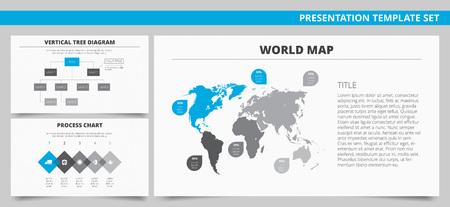 diagrama de arbol: Conjunto de vectores de las plantillas de presentación infografía con mapa del mundo, diagrama de árbol vertical y el gráfico de procesos en colores azul y gris Vectores
