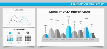 driven: Set of vector infographic presentation templates with Mounty data driven chart, Line chart, Column chart in blue and grey colors Illustration