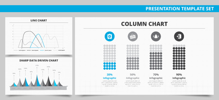 Set of vector infographic presentation templates with Column chart, Line chart, Sharp data driven chart in blue and grey colors