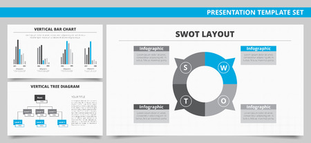 vertical bar: Set of vector infographic presentation templates with SWOT layout, Vertical bar chart and Vertical tree diagram in blue and grey colors Illustration