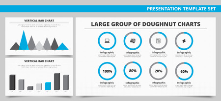 vertical bar: Set of vector infographic presentation templates with Large group of doughnut charts, Vertical bar chart, Vertical mountain chart in blue and grey colors