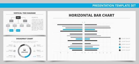 diagrama de arbol: Conjunto de vectores de las plantillas de presentación de infografía con la carta de barra horizontal, vertical diagrama de árbol y el gráfico del buñuelo en colores azules y grises