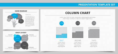 criterion: Set of vector infographic presentation templates with Column chart, Hand diagram and SWOT layout in blue and grey colors