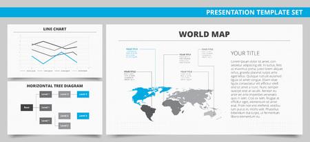 diagrama de arbol: Conjunto de vectores de las plantillas de presentación infografía con la línea gráfica, diagrama de árbol horizontal, Mapa del mundo en colores azul y gris