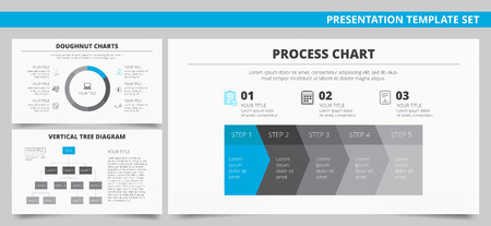 diagrama de arbol: Conjunto de vectores de las plantillas de presentación infografía con la carta del buñuelo, diagrama del proceso, diagrama de árbol vertical en colores azul y gris