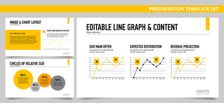 relative: Set of vector infographic presentation templates with Image and chart layout, Editable line and graph content, Circles of relative size, in yellow and grey colors