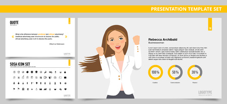 Set of vector infographic presentation templates with Quote slide, Single colleague profile slide, SOSA icon set, in yellow and grey colors
