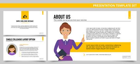 Ensemble de modèles vecteur de présentation infographique avec A propos de nous diapositive, diapositive de bienvenue simple, unique profil collègue, en jaune et gris