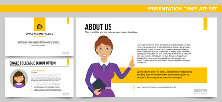 colleague: Set of vector infographic presentation templates with About us slide, Simple welcome slide, Single colleague profile, in yellow and grey colors