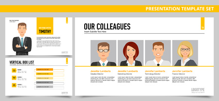 colleagues: Set of vector infographic presentation templates with Four colleagues profiles, Vertical box list, New trend spotted, in yellow and grey colors