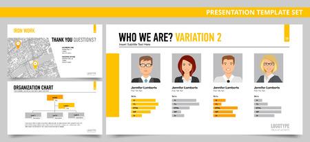 proficiency: Set of vector infographic presentation templates with Who we are slide, Final slide, Organization chart, in yellow and grey colors Illustration