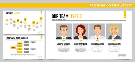 diagrama de arbol: Conjunto de plantillas de presentación del vector de infografía con nuestro equipo de diapositivas, Proceso de diapositivas, Horizontal diagrama de árbol de diapositivas, en colores amarillos y grises