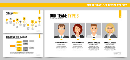 tree diagram: Set of vector infographic presentation templates with Our team slide, Process slide, Horizontal tree diagram slide, in yellow and grey colors Vectores