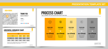 hierarchy chart: Set of vector infographic presentation templates with Process chart slide, Final slide, Horizontal hierarchy chart, in yellow and grey colors