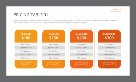 Template of pricing table consisting of four separate columns with title, price, five features and request button Vectores