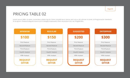 Editable table template with four separate columns including title, price and five features, two-colored version Illusztráció