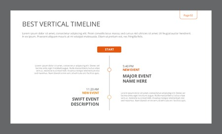 Editable template of presentation slide representing simple vertical timeline with time points, titles and sample text