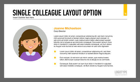 colleague: Editable template of presentation slide representing single colleague data layout Illustration