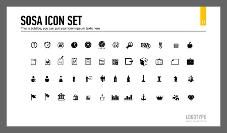 Editable template of presentation slide representing set of sosa icons
