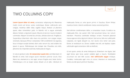 main idea: Editable template of presentation slide with two columns copy Illustration