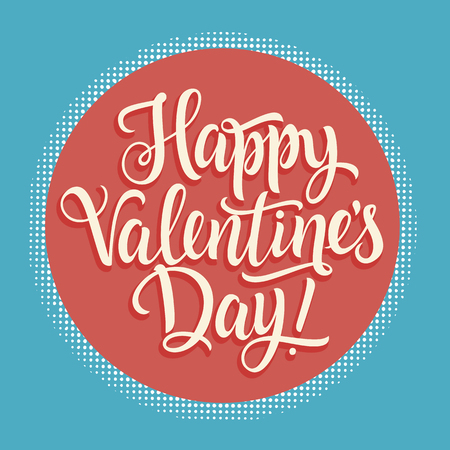 italics: White Happy Valentines Day inscription in light red circle with dotted outline, on bright blue background